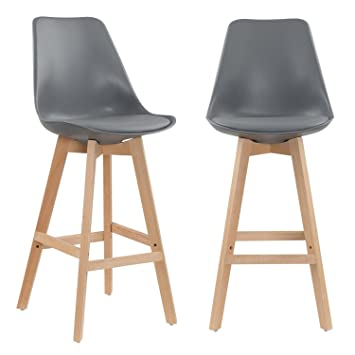 Lot Tabouret De Bar.Mobilier Deco Lot De 2 Tabourets De Bar Scandinave Gris