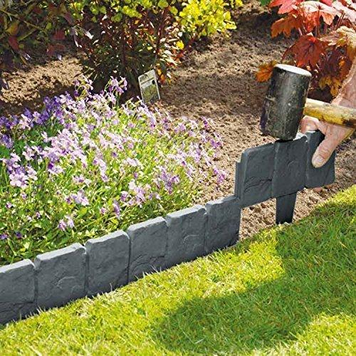 Burwells 14 Piece Stone Effect Plastic Garden Edging Hammer-In Lawn Pebble Border//Rockery