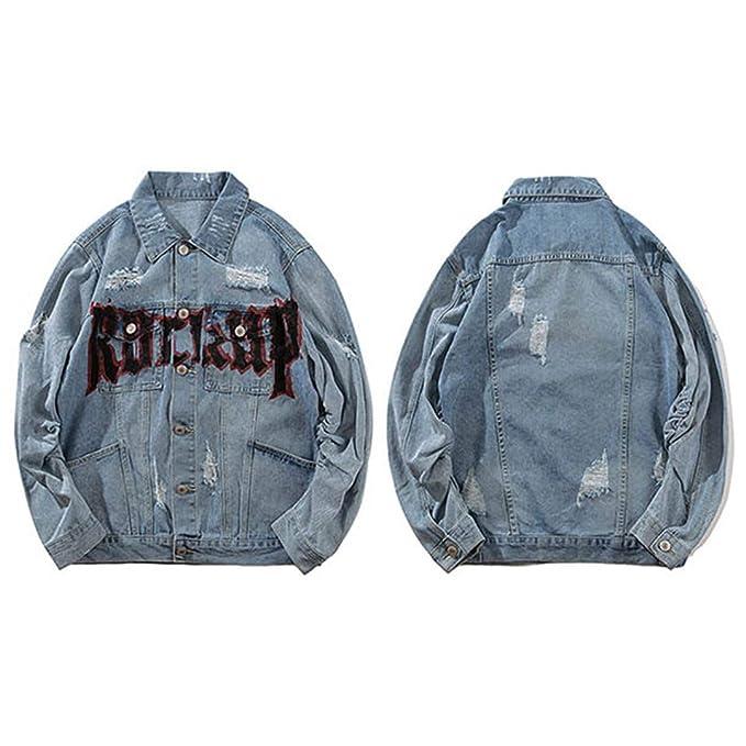 Hip Hop Street Retro Print Rock Hole Denim Jacket at Amazon Mens Clothing store: