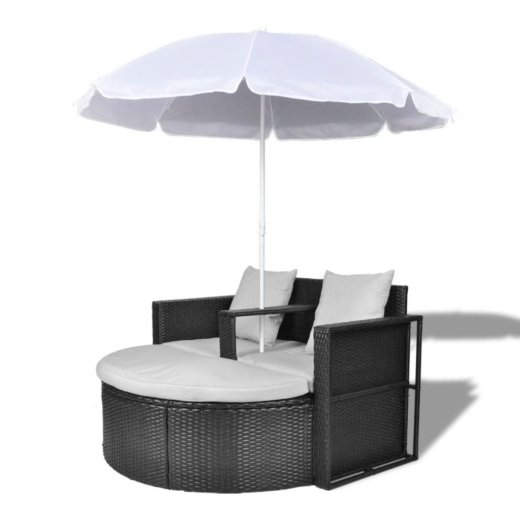 Amazon com onlinegymshop cb18544 outdoor garden furniture lounge sofa set sunbed with parasol black sports outdoors