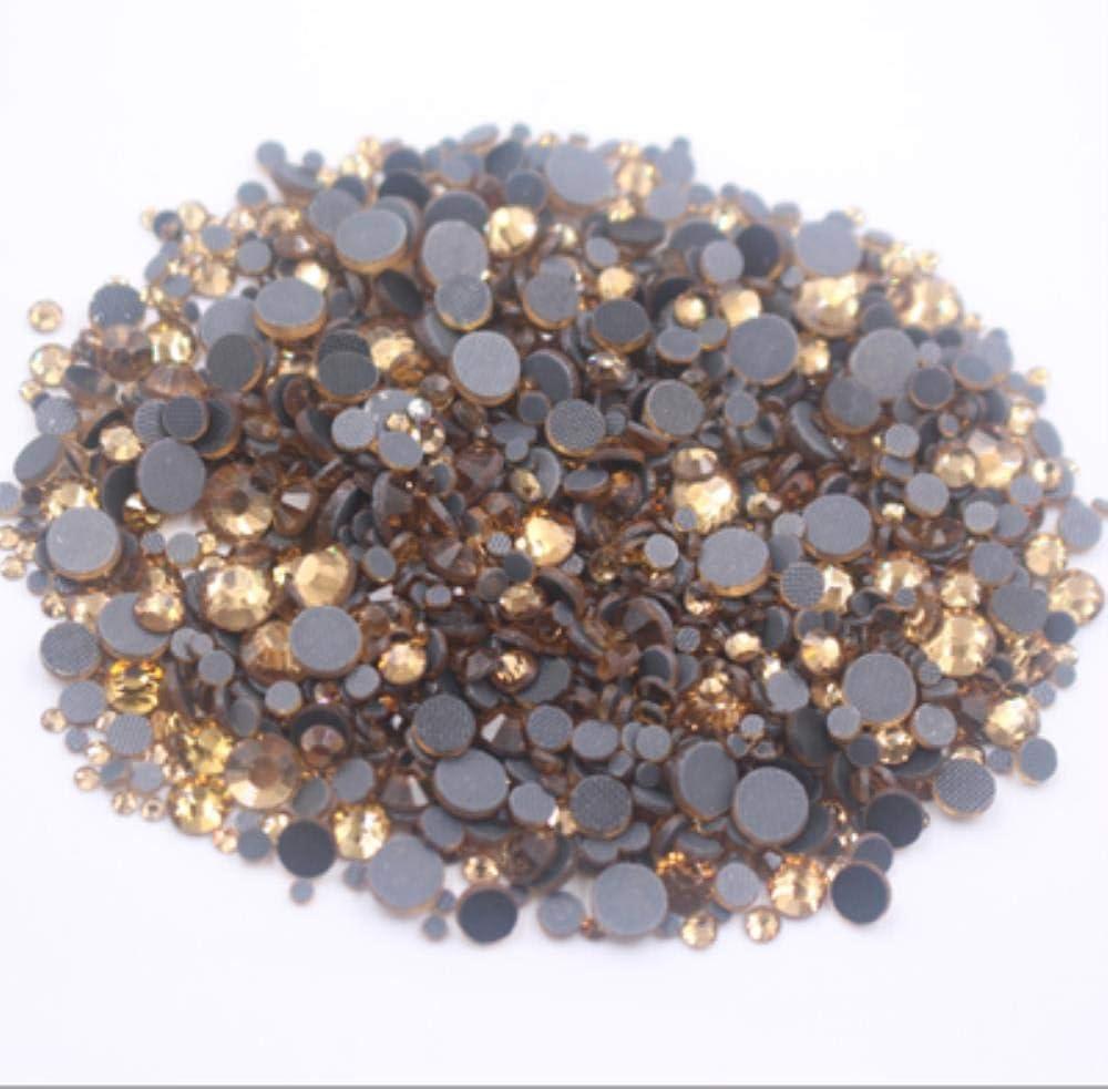 PENVEAT Hot Fix Rhinestone Pink Glitter Strass Flatback Glass Crystal Hotfix Piedras Hierro en Diamantes de imitación para Ropa Zapatos, lt Col topacio, 1000 Piezas