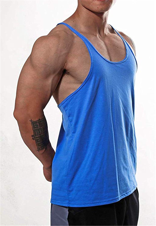 KODOO Camiseta de Tirantes Hombres Gym El/ástica de Fitness Culturismo Gimnasio Deportiva Stringer sin Mangas Tank Top para Hombre