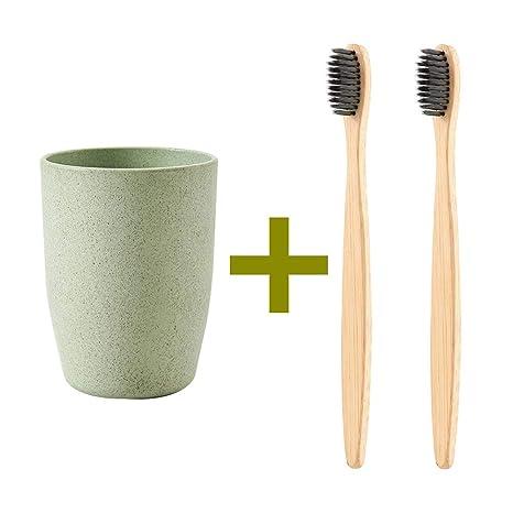 2 cepillos de dientes biodegradables ecológicos de bambú natural + 1 vaso para cepillo de dientes
