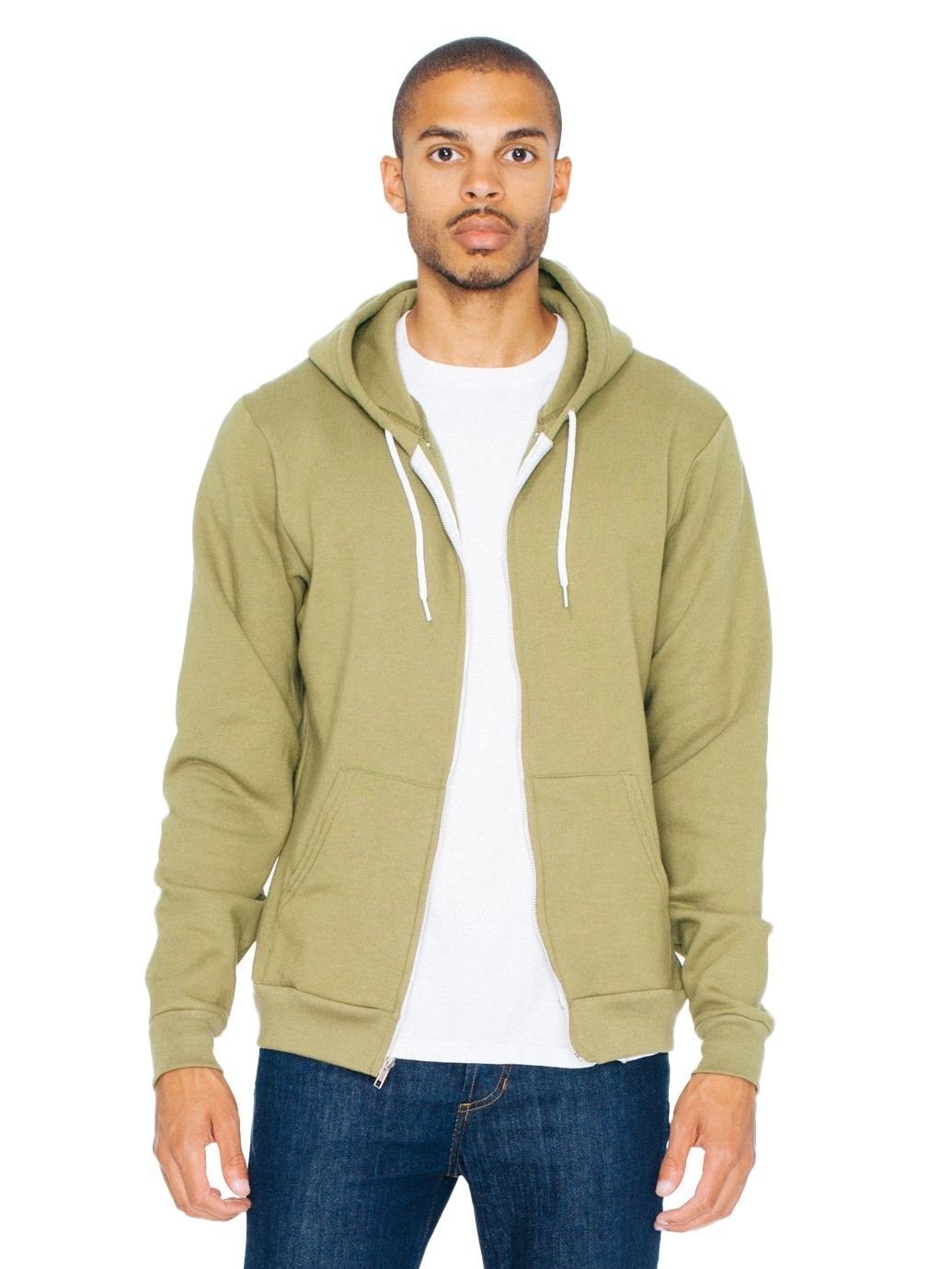 American Apparel Men Flex Fleece Zip Hoodie Size L Barrack Green