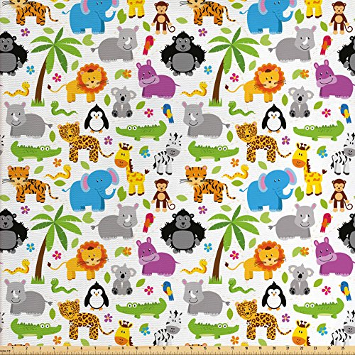Ambesonne Nursery Fabric by the Yard, Various Types of Animals Drawn Cute Manner Lions Koalas Tigers Crocodiles Monkeys, Decorative Fabric for Upholstery and Home Accents, (Monkey Upholstery Fabric)