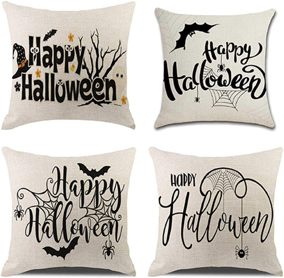 Amazon Winsummer Set of 4 Happy Halloween Pillow Covers