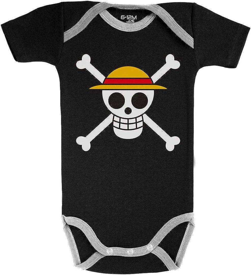 One Piece /™ Noir Parent Baby Geek Drapeau de Luffy Licence Officielle Body B/éb/é Manches Courtes Coton