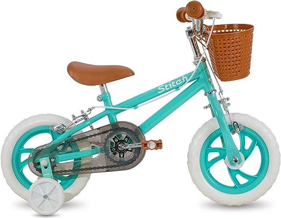 STITCH Bicicleta infantil de 35,5 cm y 40,6 cm para ni/ñas y ni/ños de 3 a 8 a/ños de edad con ruedas de entrenamiento y frenos de mano color morado y rosa.