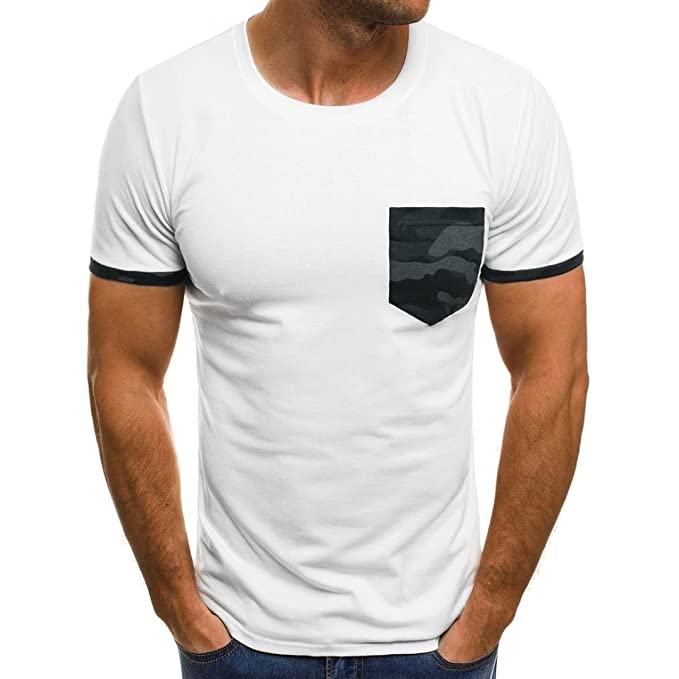 a89b60181dde Herren T-Shirt Top, Mode Sweatshirt Rundhals Kurzarm-Shirt Basic Crew Neck  Herren