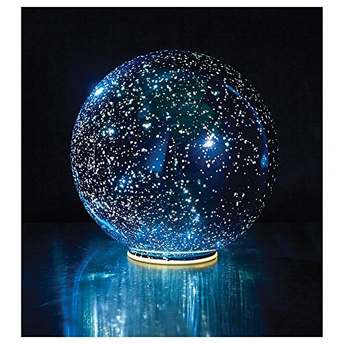 SIGNALS Lighted Mercury Glass Ball Sphere - Blue - Large ()