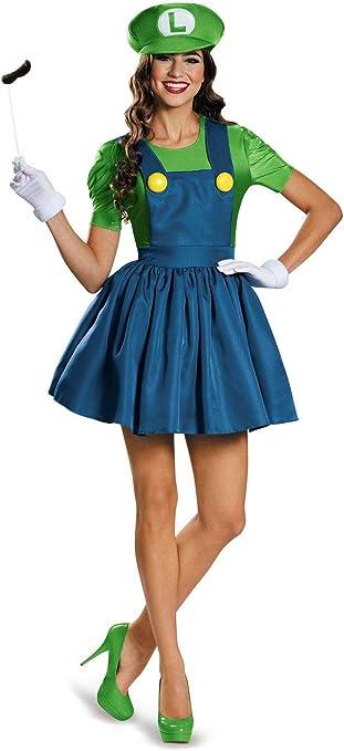Vestido Luigi de manga corta para mujer, color verde, para adultos ...