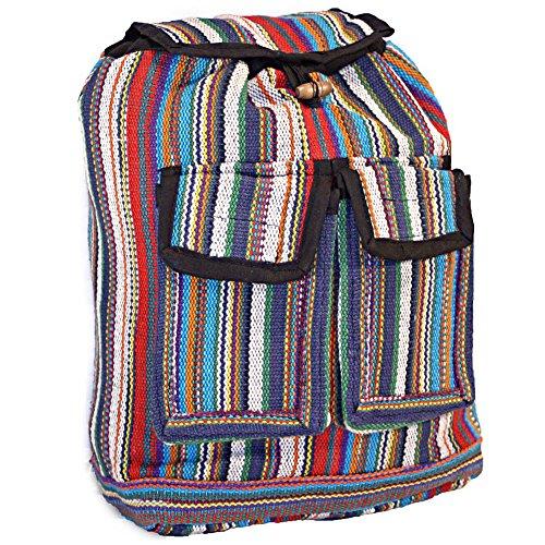Hippie Mini (Multicolored Striped Boho Hippie Mini Backpack Purse (White))