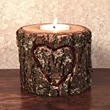 Hand Carved Heart Wood Tea Light Candle Holder