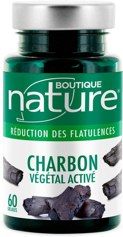 Boutique Nature – Complemento alimentario – Carbón vegetal activado – 180 cápsulas vegetales – Digestión fácil – Formato ECO