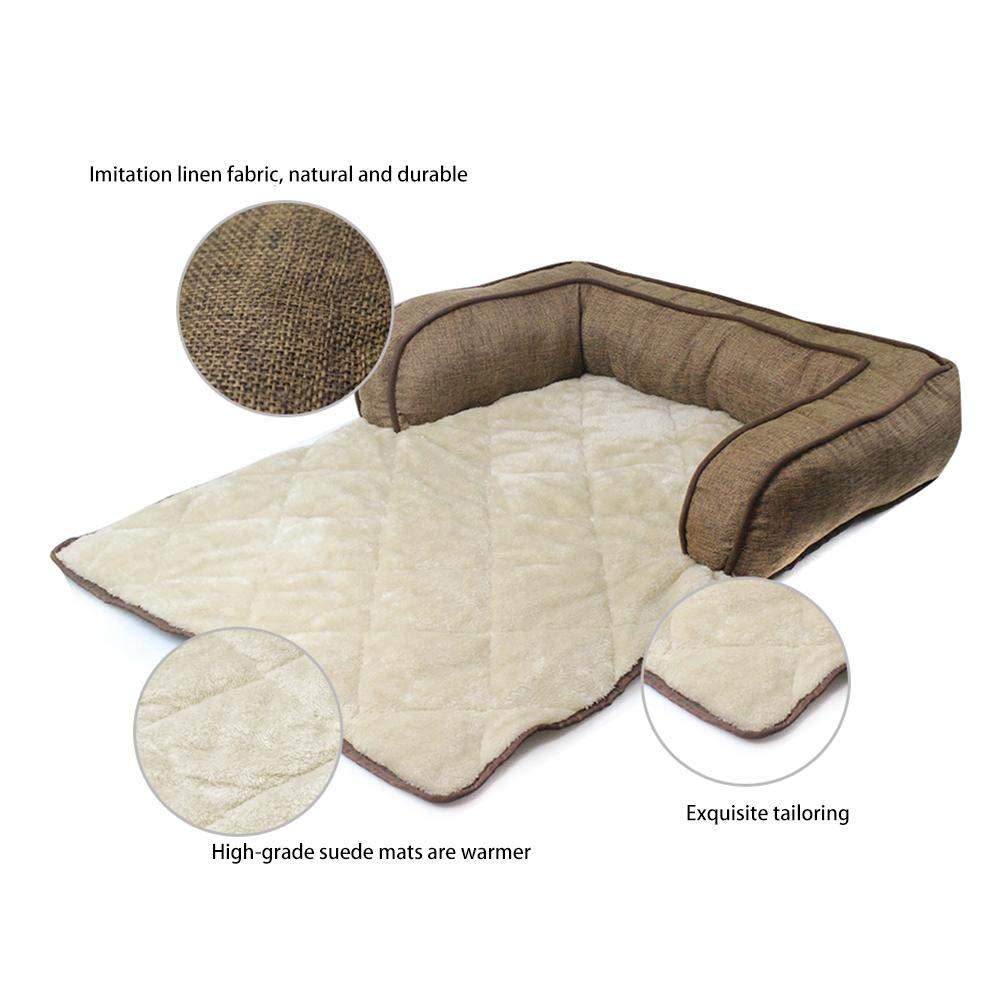 funda protectora para el sof/á para mascotas C/ómoda y c/álida cama para gatos con reposabrazos o almohada para sala de estar 80 /× 60 /× 16 cm Coj/ín para mascotas alfombra de felpa para mascotas