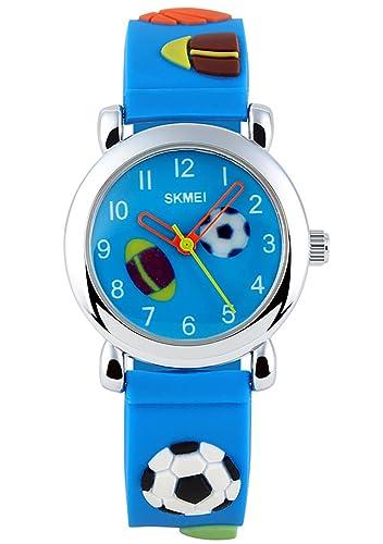 CIVO Relojes Niño Niña Chico Chica Impermeable Analógico Reloj de Muñeca Deportivo para Niños Relojes Correa de Silicona Fútbol Azul: Amazon.es: Relojes