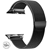 Tolv Present Classic Look Stainless Steel Replacement iWatch Band Strap Replacement Compatible for Apple Watch Series 4/3/2/1 (38mm) Black