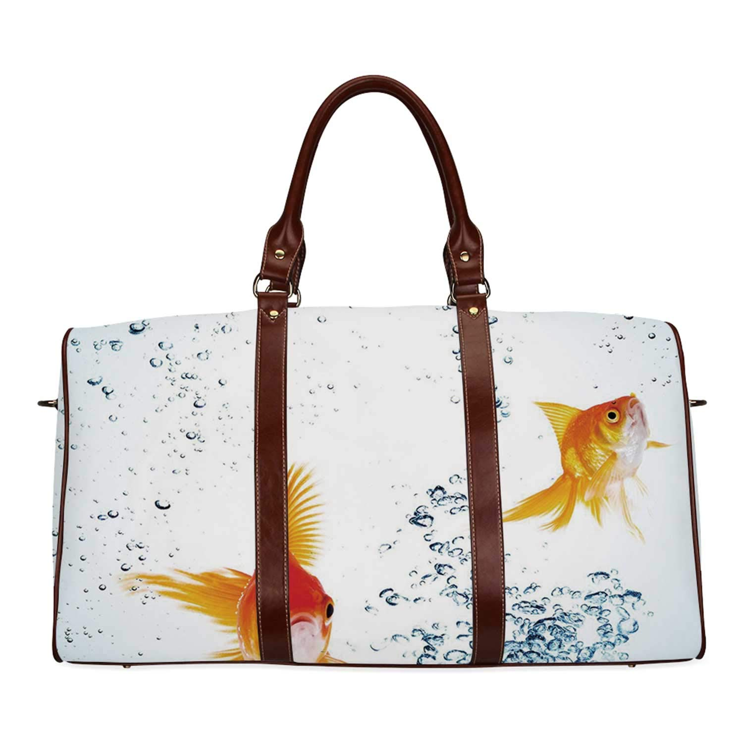 Aquarium Brown Travel Bag,Under the Aquarium Theme Cute Swimming Goldfishes with Vivid Bubbles Image for Home,20.8''L x 12''W x 9.8''H by YOLIYANA