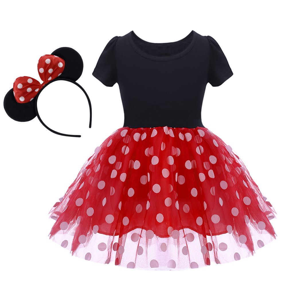 OBEEII Baby Girl Mouse Costume Tutu Dress Polka Dot Princess Tulle Fancy Dress Up Party Birthday Halloween with Ears Headband Tag 130/4-5 Years