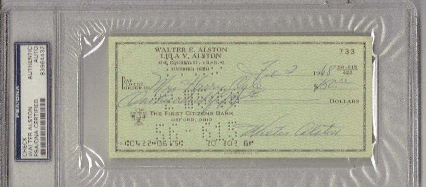 Walter Alston Autographed Signed Check Los Angeles Dodgers PSA/DNA Authentic