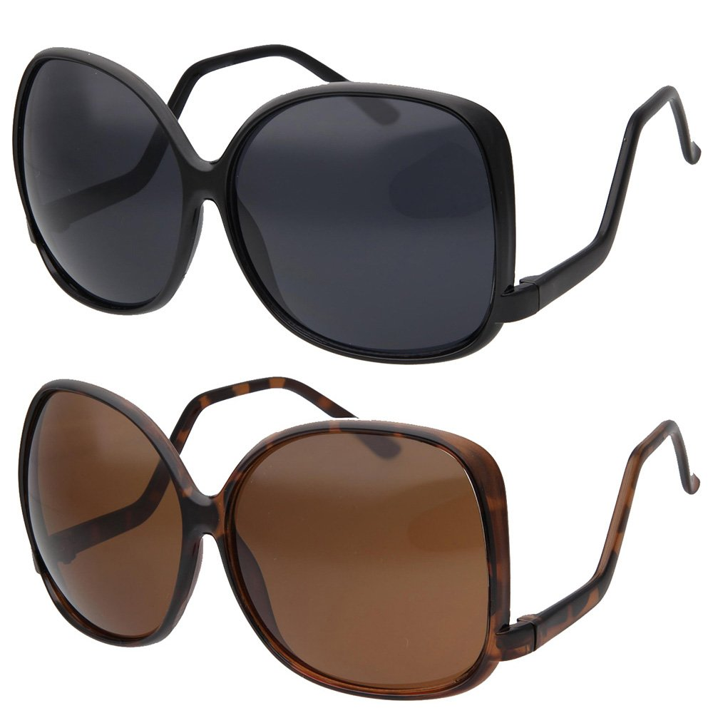 2 Pack Saver grinderPUNCH Women's Oversized Square Drop Temple Fashion Sunglasses