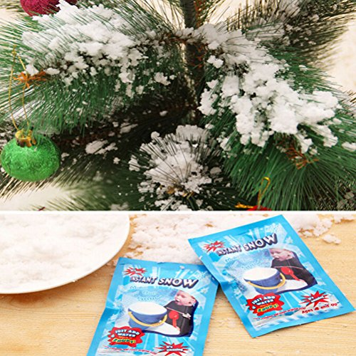CoscosX 20 Pack SAP Magic Snow Instant Fake Fluffy Snow Powder Reusable DIY Artificial Slime Simulation Snow Super Absorbant Christmas Wedding Festival Market Fairy House Decor Children Toys by CoscosX (Image #6)
