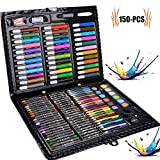 Art Set, Legendog 150pcs Professional Children Colored Pencil Drawing Artist Kit With Box Painting Art Marker Pen Set Crayon Oil Paint Brush Drawing Tool Art School Stationery Set Gift for Children Kids 14.76*11.81*1.57in