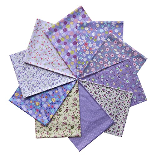Grannycrafts 10pcs 40x50cm Top Cotton Printed Fat Quarters Craft Fabric Bundle Squares Patchwork Lint Print Cloth Fabric Tissue DIY Sewing Scrapbooking Quilting Purple Series