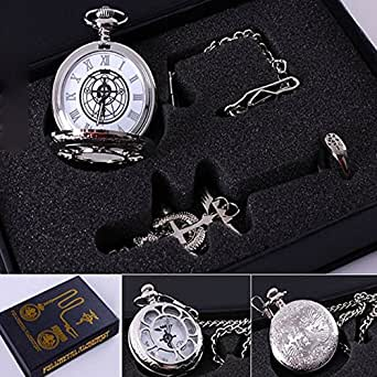 Fullmetal Alchemist Anime Pocket Watch & Necklace & Ring