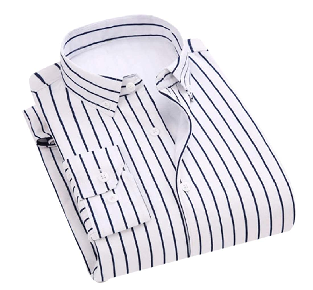 YUNY Men Comfort Striped Business Thicken Pocket Fleece Western Shirt White S