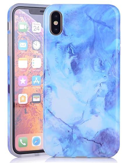 coque iphone xs max marbre bleu
