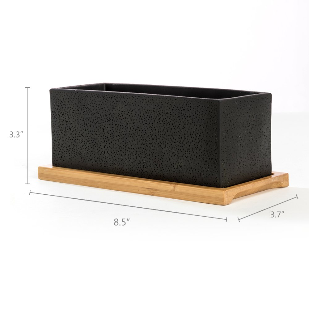 Nattol 8.5 inch Pot Rectangle Planter with Tray, Cement Pot Planter/Succulent Black Pot/Mini Cactus Holder with a Removable Bamboo Saucer Tray (Black)… by Nattol