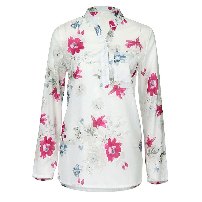 20d1803da4ceb2 new SEWORLD Damen Sommer Mode Frauen Übergröße Chiffon Blumen Drucken  Langarm V-Ausschnitt Bluse Pullover