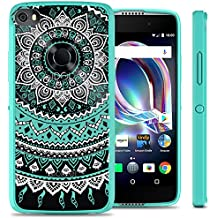 Alcatel Idol 5 Case, Alcatel Nitro 5 Case, CoverON ClearGuard Series Slim Fit Single Piece Hybrid Phone Cover Case with Hard Back and TPU Bumpers - Teal Mandala Design