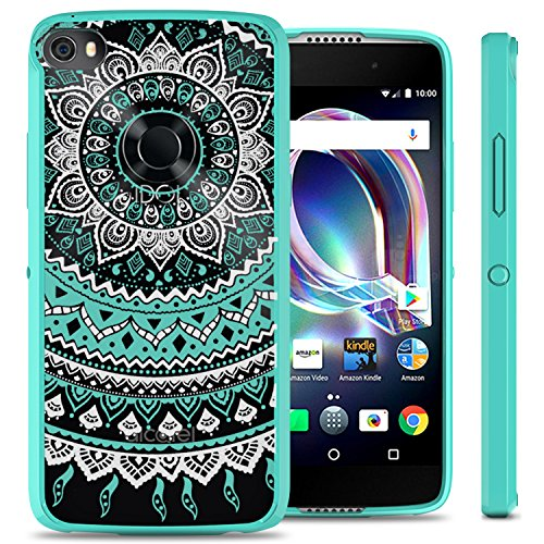 Alcatel Idol 5 Case, Alcatel Nitro 5 Case, CoverON ClearGuard Series Slim Fit Single Piece Hybrid Phone Cover Case with Hard Back and TPU Bumpers - Teal Mandala -