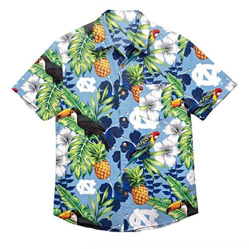 NCAA North Carolina Tar Heels Foco Floral Button Up Shirt, Team Color, Medium