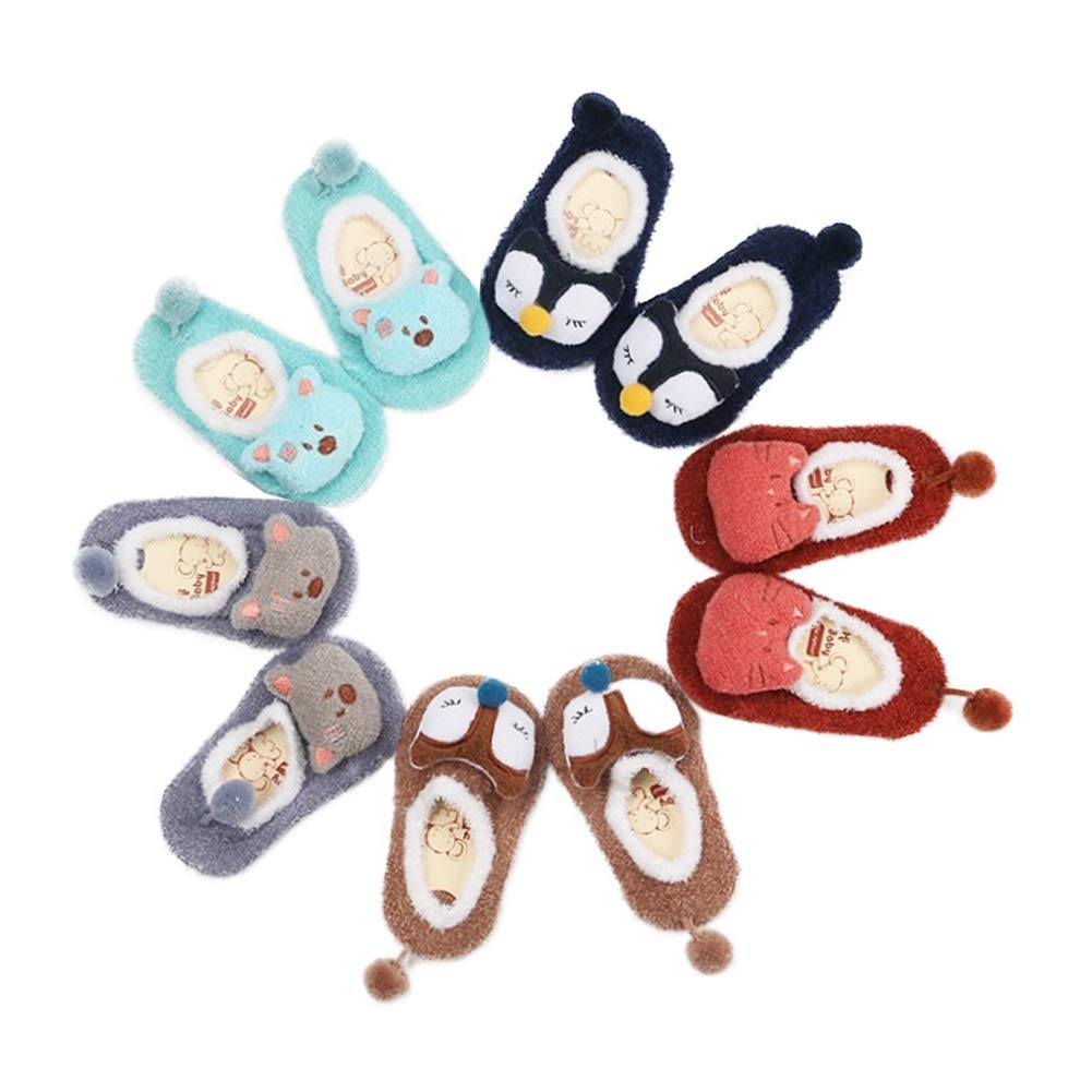 Baby Toddler Girls Boys Socks Cute Cartoon Pompoms Cotton 5 Pack Anti Skid Socks