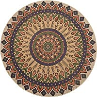 Wolala Home Natural Rubber Geometry Ethnic Style 4 Feet Round Area Rug for living Room,Bohemia Vintage Floral Rugs Non-slip Rug for Bedroom (4x4)