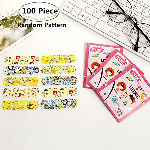 100 Piece Water Resistant Breathable Bandages, Magnolora Variety Pattern Bandages Cute Funny Cartoon Decorative Adhesive Bandages Hemostasis Band aids for Kids Children by Magnolora