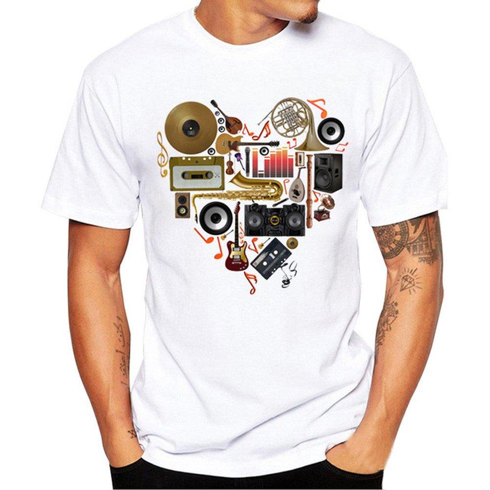 MISYAA White Music T Shirts for Men, Heart Band Tee Shirt Short Sleeve Sweatshirt Muscle Tank Top Pals Gifts Mens Tops
