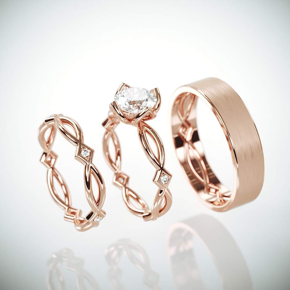 Amazon Com Rose Gold Celtic Wedding Ring Set 14k Rose Gold His