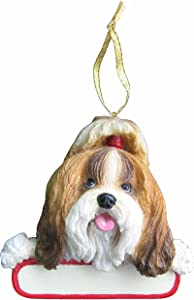 E&S Pets Shih Tzu Ornament Tan and White Santa's Pals with Personalized Name Plate A Great Gift for Shih Tzu Lovers
