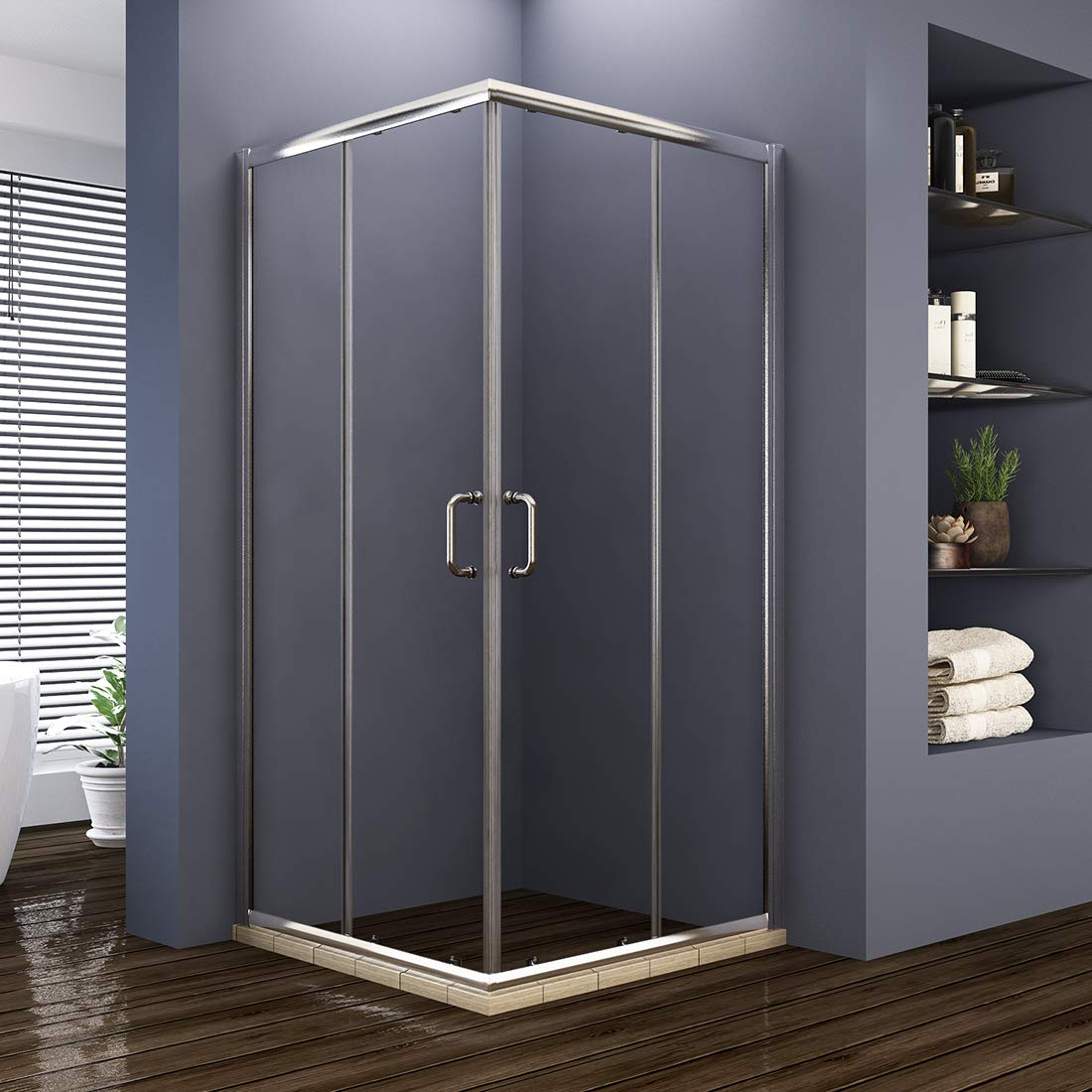 ELEGANT Double Opening Sliding Shower Enclosure, 36 D. x 36 W. x 72 H. 2 Stationary Panel Glass Shower Door, 1 4 Clear Glass, Chrome Finish