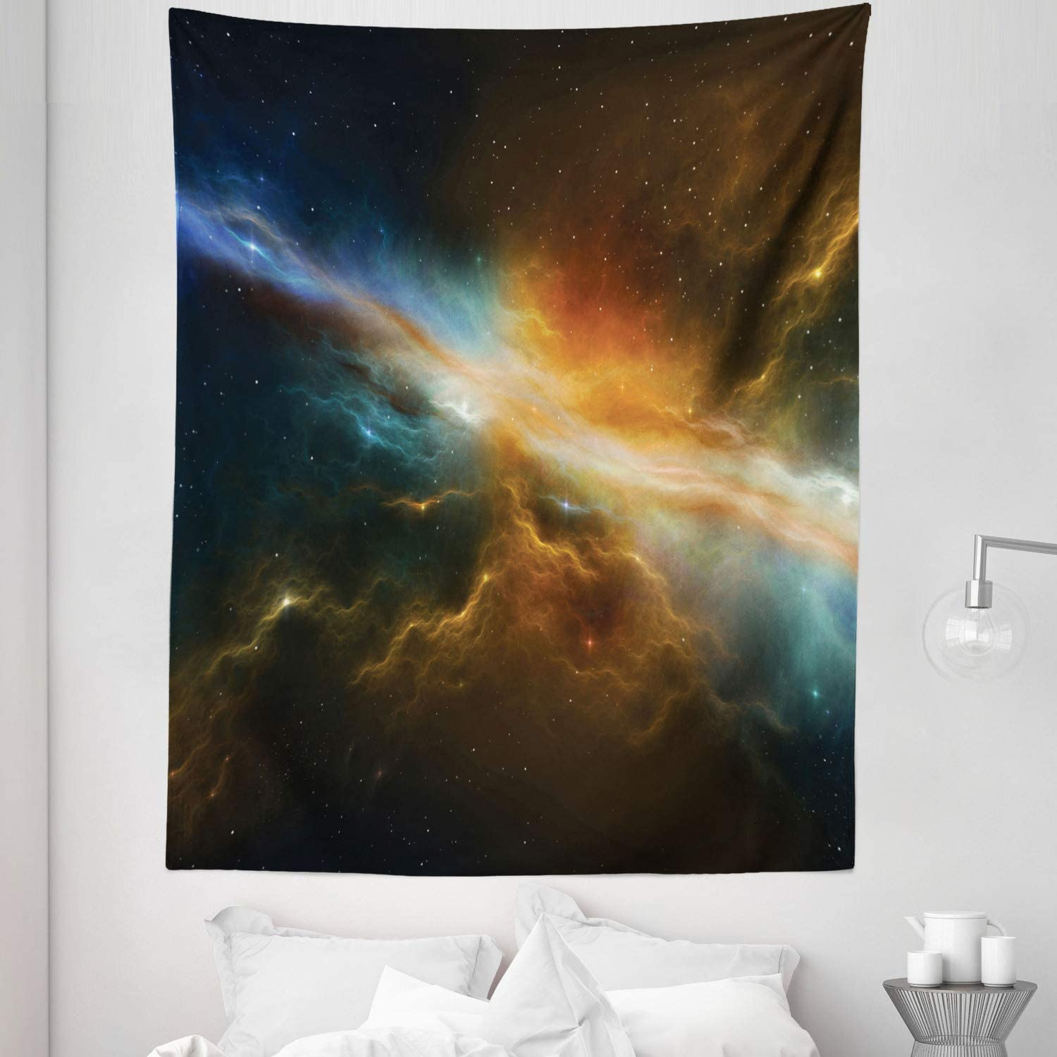 "Lunarable Outer Space Tapestry Twin Size, Astronomy Celestial Meteorite Supernova Dark Mysterious Space Picture, Wall Hanging Bedspread Bed Cover Wall Decor, 68"" X 88"", Marigold Blue"
