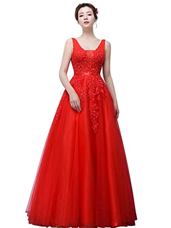 Review Babyonline Women's Double V-Neck Tulle Appliques Long Evening Cocktail Gowns