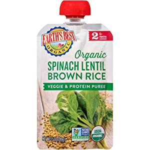 Earth's Best Organic Stage 2 Baby Food, Spinach Lentil and Brown Rice, 3.5 oz. Pouch