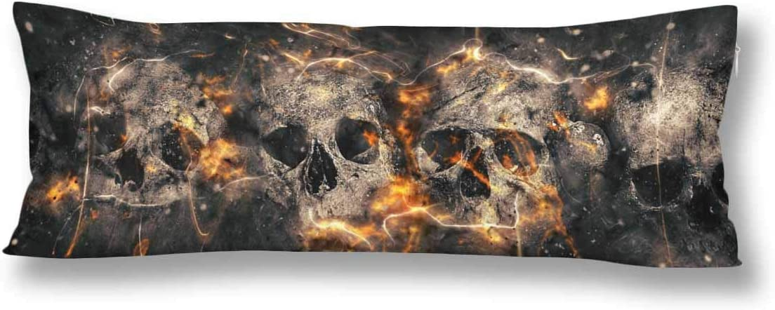 Interestprint Skulls Bones Spooky Horror Halloween Body Pillow Covers Case Protector Rectangle With Zipper 21x60 Twin Sides For Sofa Decorative Home Kitchen