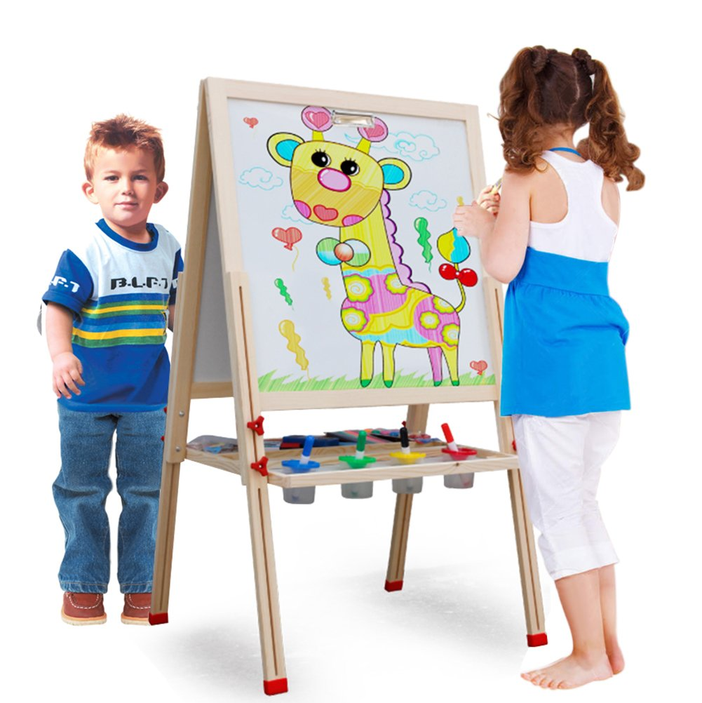 Toyssa 3 in 1 Wooden Standing Art Easel Adjustable Dry Erase Board and Chalkboard with Accessories Set for Kids Play Time