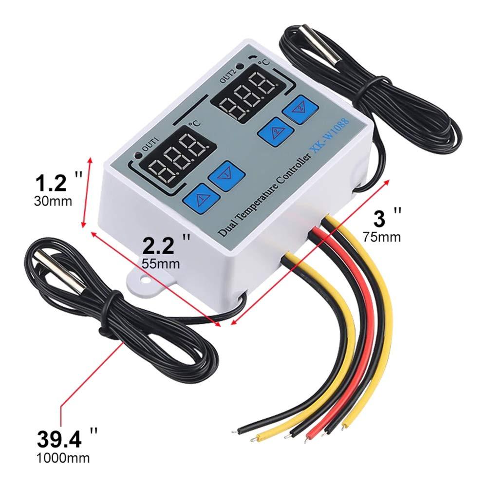 Leepesx Controlador de temperatura del termostato digital dual Termorregulador de salida de dos rel/és para incubadora Calefacci/ón Refrigeraci/ón XK-W1088 AC110-220V