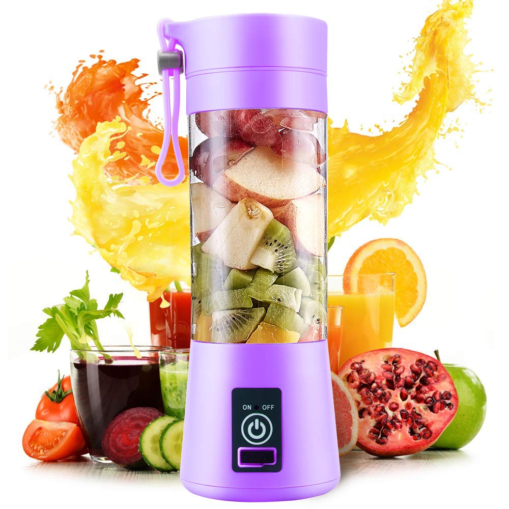 Electric USB Juicer Blender Portable Juicer Cup 400ml Water Bottle Juicer Machine with 4 Blades, 2000mAh Rechargable Battery (Purple)